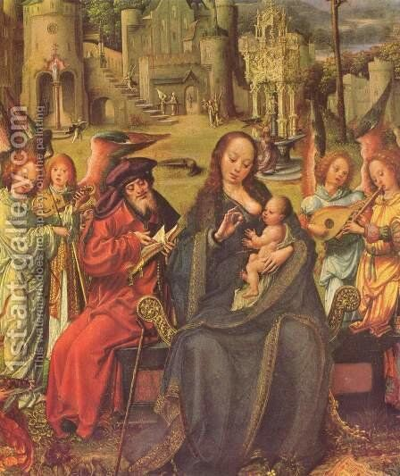 Holy Family by Jan (Mabuse) Gossaert - Reproduction Oil Painting