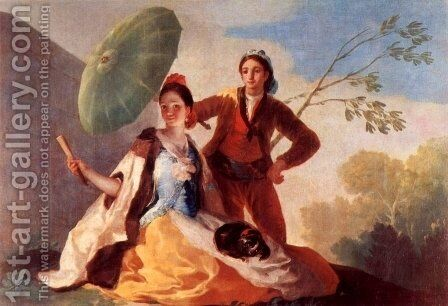 Designs for tapestries to decorate the Royal. Palace of El Pardo and El Escorial, Scene The parasols by Goya - Reproduction Oil Painting