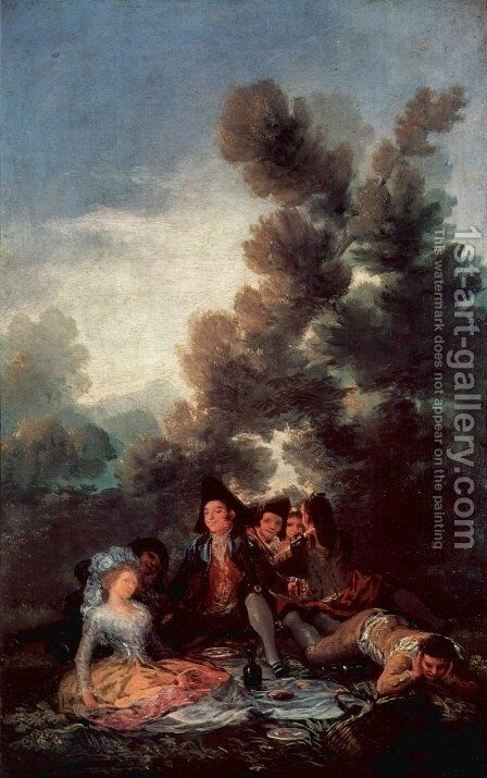 Designs for tapestries to decorate the royal palace of El Pardo and El Escorial, Vesper outdoor scene by Goya - Reproduction Oil Painting