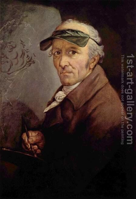 Self-portrait with the green eye-shade by Anton Graff - Reproduction Oil Painting