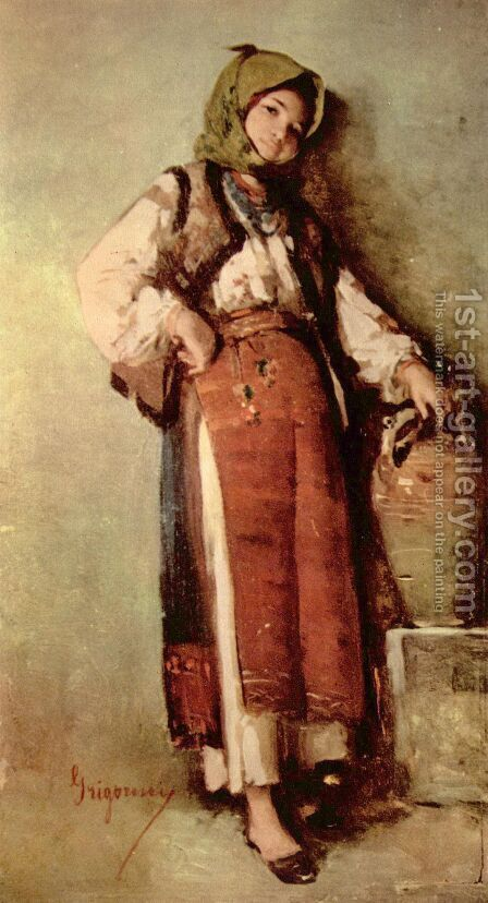 Peasant Woman with Jug by Nicolae Grigorescu - Reproduction Oil Painting