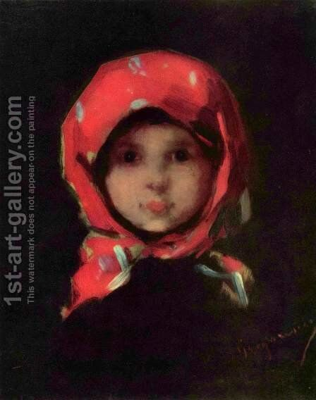 Little girl by Nicolae Grigorescu - Reproduction Oil Painting