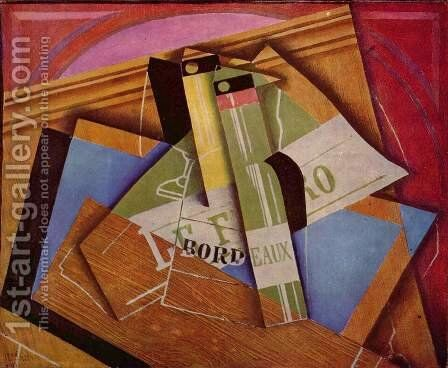 Still life with bottle of Bordeaux by Juan Gris - Reproduction Oil Painting