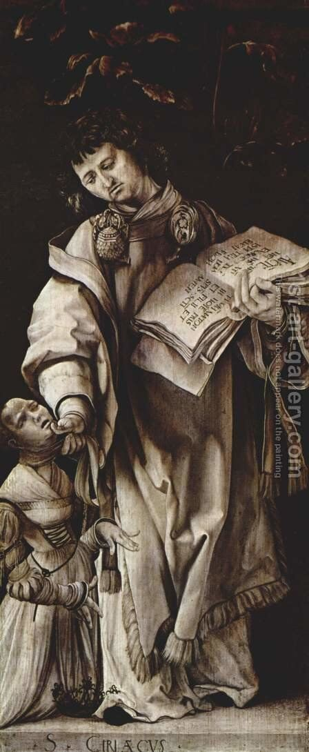State boards with four saints for the Heller-Altar Albrecht Dürer's heals, formerly in the Dominican church in Frankfurt am Main, St. Cyracus the scen by Matthias Grunewald (Mathis Gothardt) - Reproduction Oil Painting