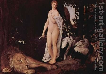 Female Nude with animals in a landscape by Gustav Klimt - Reproduction Oil Painting