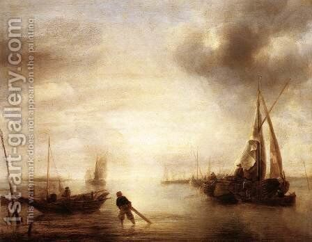 Calm 1650-55 by Jan Van De Capelle - Reproduction Oil Painting