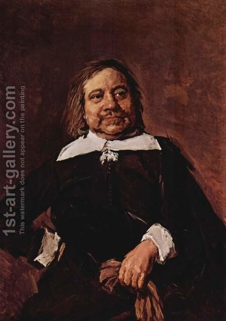 Portrait of a man with a pointed collar, hips propped right hand and gloves in his left hand by Frans Hals - Reproduction Oil Painting