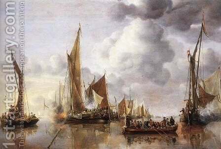 The State Barge Saluted by the Home Fleet 1650 by Jan Van De Capelle - Reproduction Oil Painting