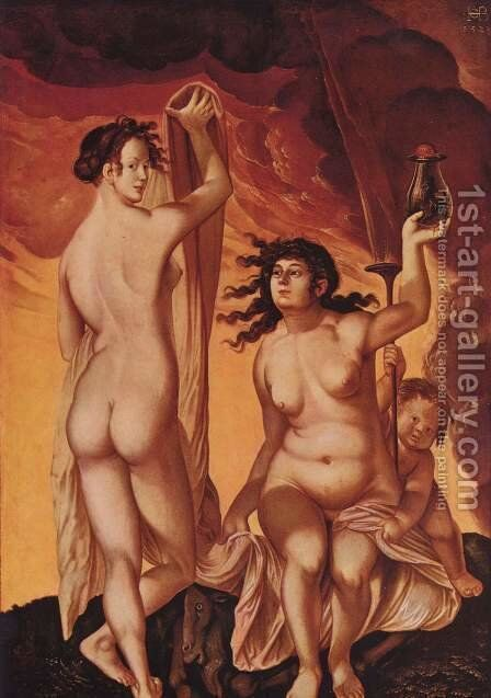 Two witches by Hans Baldung  Grien - Reproduction Oil Painting