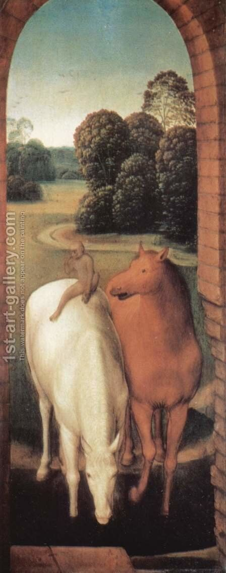 Allegorical representation of two horses and a monkey by Hans Memling - Reproduction Oil Painting