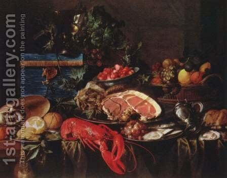 Still life with lobster, ham and fruits by Jan Davidsz. De Heem - Reproduction Oil Painting
