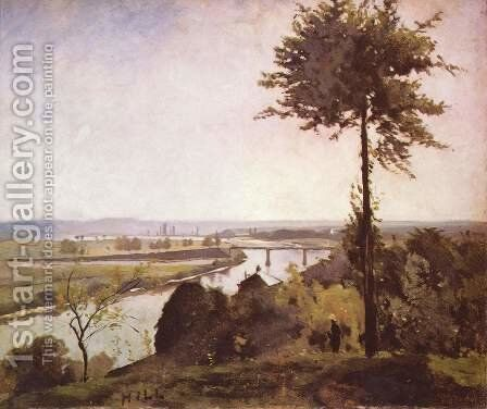 Seine landscape with poplars by Carl Fredrik Hill - Reproduction Oil Painting