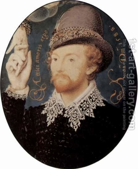 Portrait of a stranger who takes a hand, Oval by Nicholas Hilliard - Reproduction Oil Painting