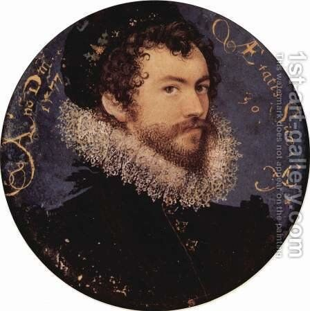Earliest self portrait of Nicholas Hilliard by Nicholas Hilliard - Reproduction Oil Painting