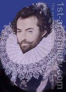 Portrait of Sir Walter Raleigh, Oval 2 by Nicholas Hilliard - Reproduction Oil Painting