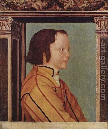 Boy with brown hair by Ambrosius Holbein - Reproduction Oil Painting