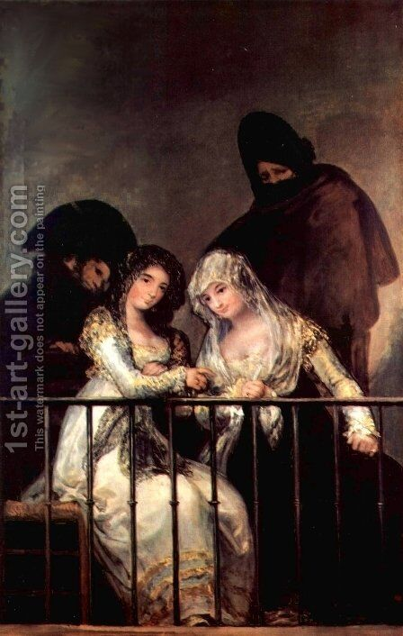 Majas on a Balcony by (after) Francisco De Goya Y Lucientes - Reproduction Oil Painting