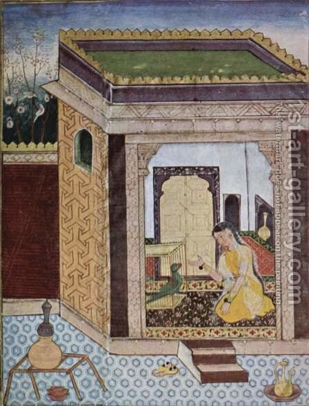 Tuti-Nama manuscript scene girl with parrot by Indian School - Reproduction Oil Painting