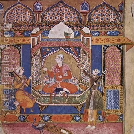 Ragamala illustration, scene Raga Shri, king of love with pages by Indian School - Reproduction Oil Painting