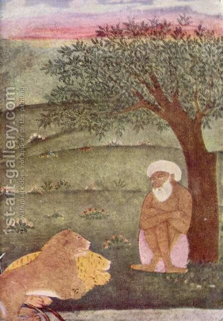 The dervish next to a lion and a tiger by Indian School - Reproduction Oil Painting
