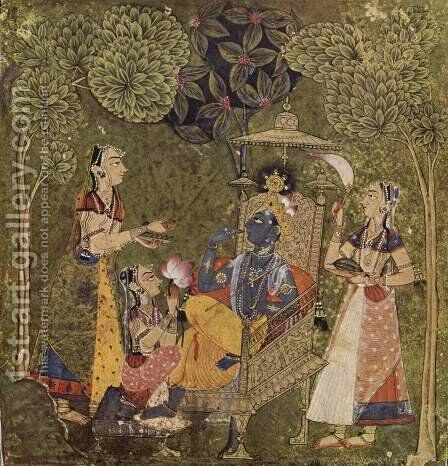 Ragamala series, Krishna scene and the girls by Indian School - Reproduction Oil Painting