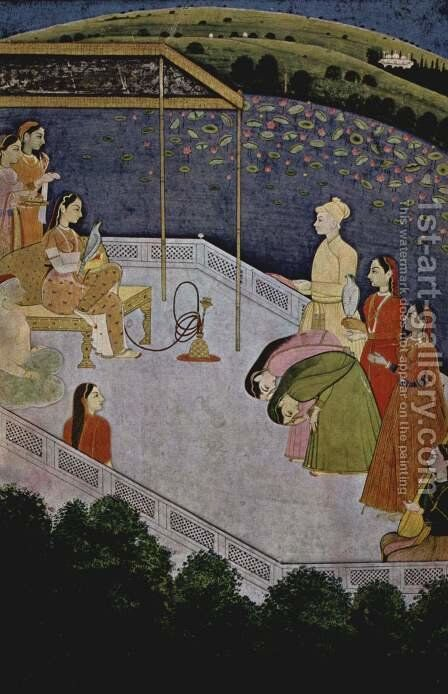 A woman listening to music by Indian School - Reproduction Oil Painting