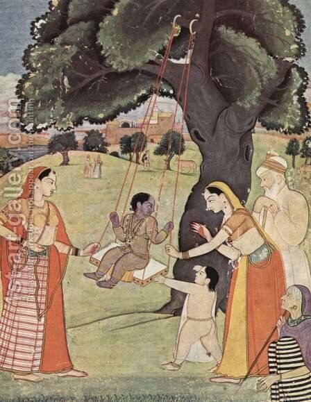 Ragamala series, Krishna scene in the swing by Indian School - Reproduction Oil Painting