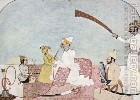 Hill leaders (Punjab Hills) with children by Indian School - Reproduction Oil Painting