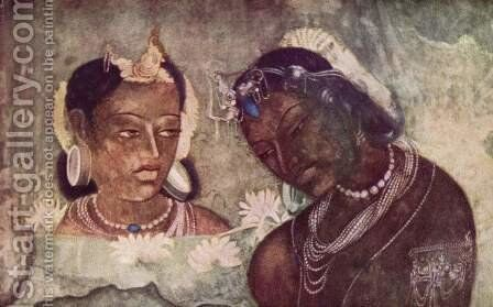 Princess and servant, detail by Indian School - Reproduction Oil Painting
