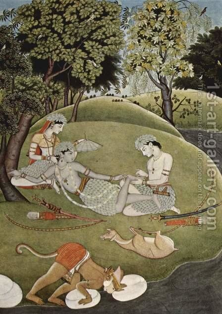 Rama and Sita in the forest by Indian School - Reproduction Oil Painting