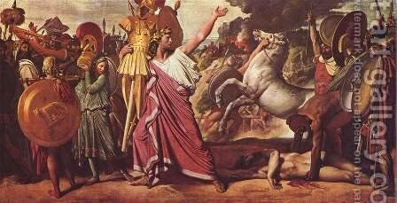 Romulus, the winner of Acron, carries the rich spoils in the temple of Zeus by Jean Auguste Dominique Ingres - Reproduction Oil Painting