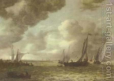 Sailing boats on an estuary by Jan van Goyen - Reproduction Oil Painting