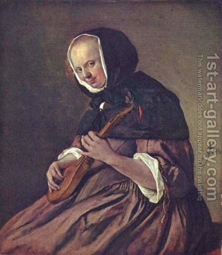 Woman playing the sistrum by Jan Steen - Reproduction Oil Painting
