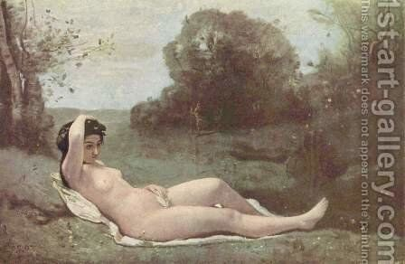 Girl in the green by Jean-Baptiste-Camille Corot - Reproduction Oil Painting