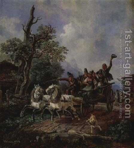 Landscape with farm wagons by Heinrich Bürkel - Reproduction Oil Painting