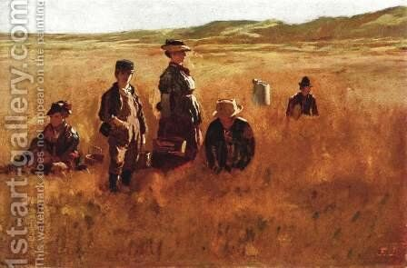In the field by Eastman Johnson - Reproduction Oil Painting