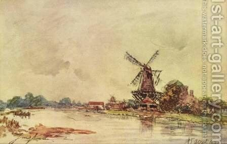 Landscape with windmill 2 by Johan Barthold Jongkind - Reproduction Oil Painting