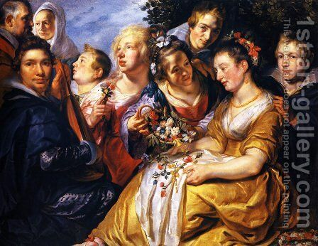 Self portrait with his Family and Father-in-Law Adam van Noort by Jacob Jordaens - Reproduction Oil Painting