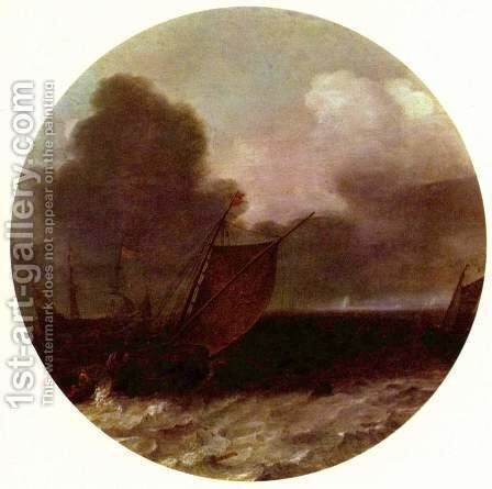 Boeier and other ships on a large water by Jan Porcellis - Reproduction Oil Painting
