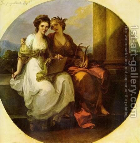 The poetry embraces painting, Tondo by Angelica Kauffmann - Reproduction Oil Painting