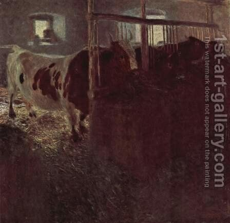Cows in the barn by Gustav Klimt - Reproduction Oil Painting