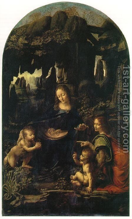 Madonna of the Rocks, Scene Mary with baby Jesus, John the Baptist as a child and an angel by Leonardo Da Vinci - Reproduction Oil Painting