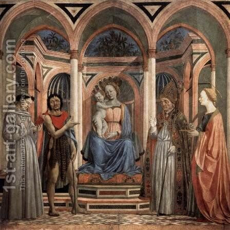 The Madonna and Child with Saints c. 1445 by Domenico Veneziano - Reproduction Oil Painting