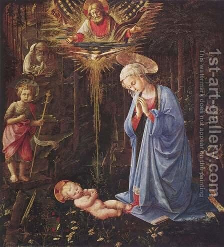 Adoration of the Child and St. Bernard by Fra Filippo Lippi - Reproduction Oil Painting
