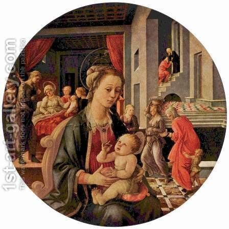 Virgin and Child, Tondo by Fra Filippo Lippi - Reproduction Oil Painting