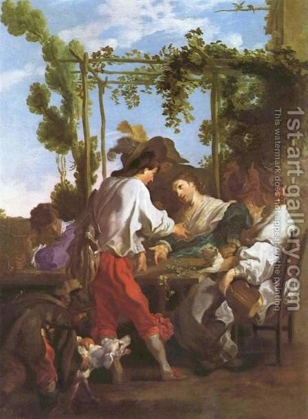 Morra game outdoors by Johann Liss - Reproduction Oil Painting