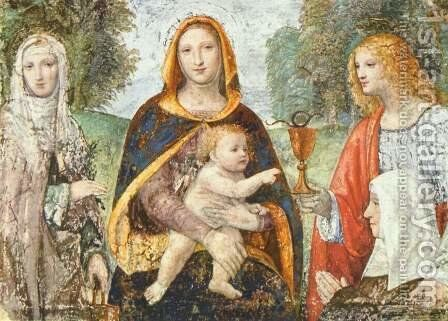 Madonna with Child and St. Martha, John, and a nun by Bernardino Luini - Reproduction Oil Painting