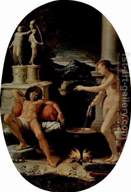 Medea and Jason, Oval by Girolamo Del Crocifissaio (see Macchietti) - Reproduction Oil Painting