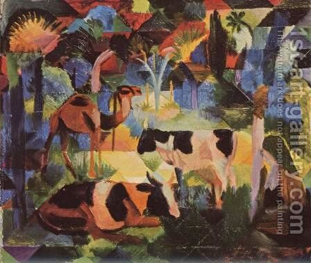Landscape with cows and camels by August Macke - Reproduction Oil Painting