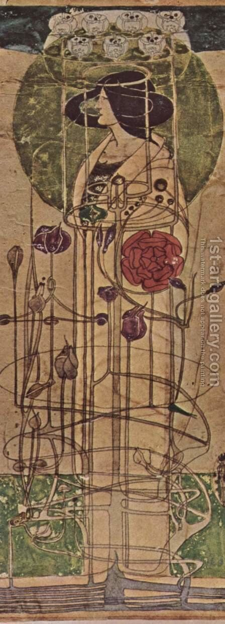 Design for a wall decoration by Charles Rennie Mackintosh - Reproduction Oil Painting